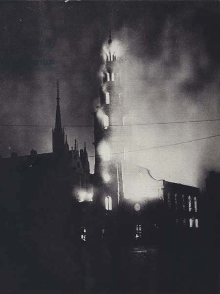 St Clement Danes Church, London, on fire during the Blitz, World War II, 10 May 1941 (b/w photo)