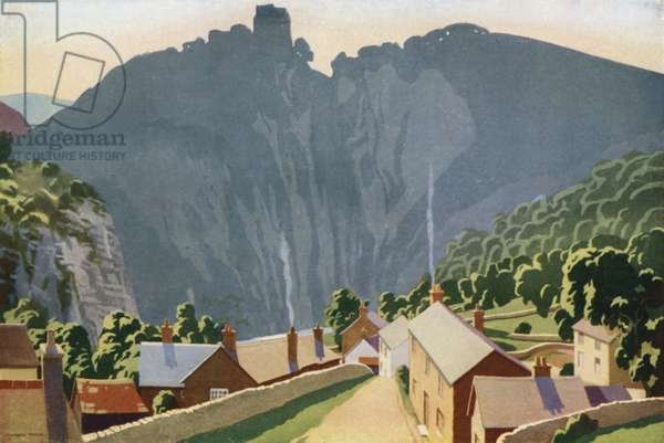 The Peak District, Peveril Castle (colour litho)