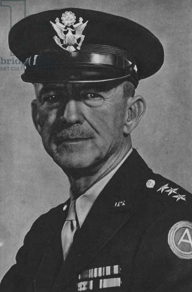Lieutenant-General Courtney H Hodges, Commander of the 1st Army (b/w photo)