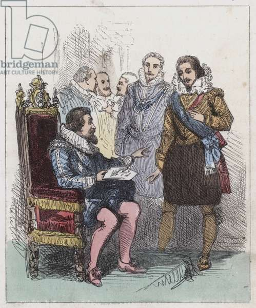 Discovery of the Gunpowder Plot (coloured engraving)