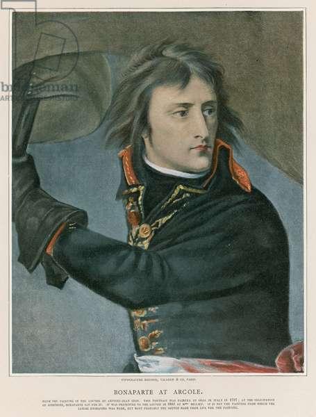 Bonaparte at Arcole (colour litho)