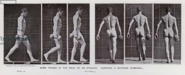 The Human Figure in Motion: Some phases in the walk of an athlete, carrying a 50-pound dumb-bell (b/w photo)