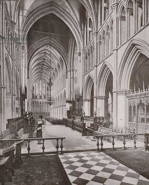 Southwark Cathedral, the Choir and Nave, looking West (b/w photo)