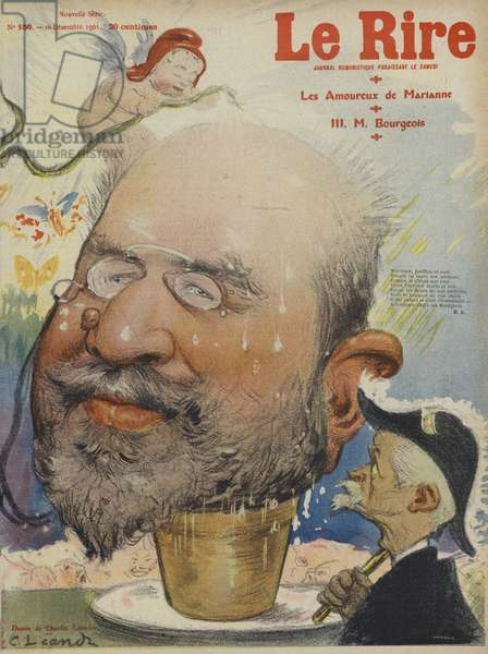 Leon Bourgeois, French politician. Illustration for Le Rire (colour litho)
