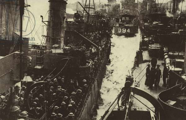 British troops evacuated from Dunkirk arriving back in England, World War II, May-June 1940 (b/w photo)