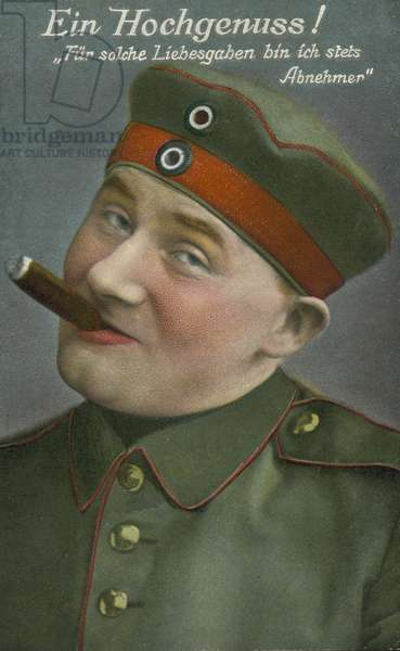 German First World War soldier enjoying a cigar (chromolitho)