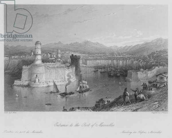 Entrance to the Port of Marseilles (engraving)