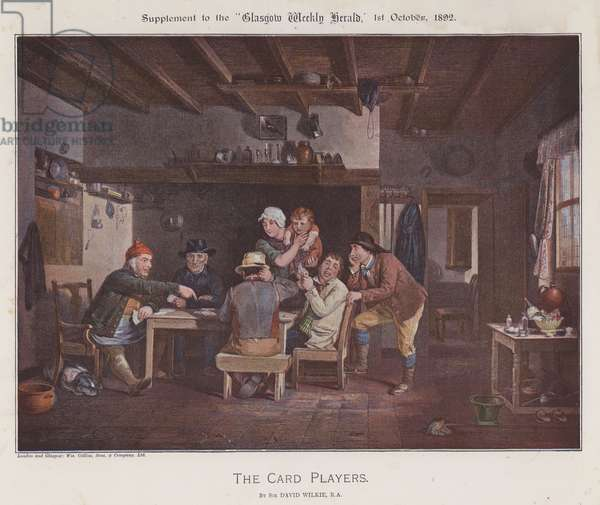 The Card Players (colour litho)