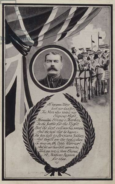 Memorial card to Kitchener who died in 1916 (litho)