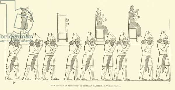 Idols carried in procession by Assyrian warriors (south-west ruins, Nimrud) (engraving)