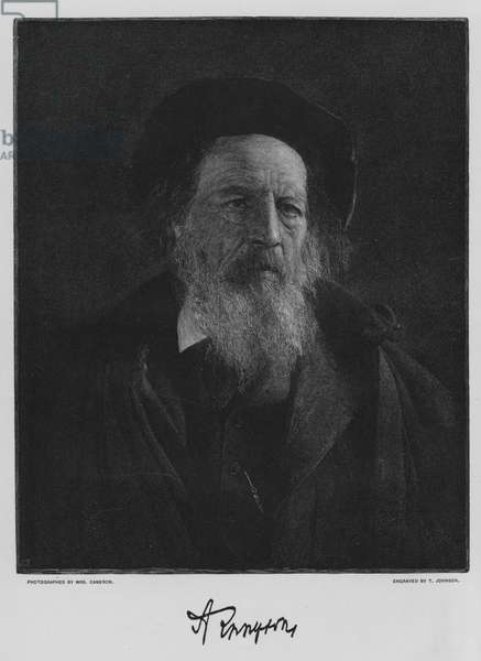 Alfred Lord Tennyson, after the photograph by Mrs Cameron (litho)