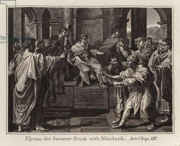 Raphael cartoon: Elymas the Sorcerer Struck with Blindness, Acts, Chap XIII (engraving)