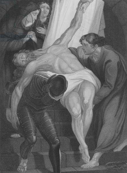 The Entombment of Christ, St Luke 23, Verse 50-56 (engraving)