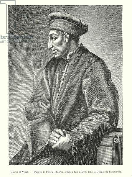 Cosme le Vieux, D'apres le Portrait du Pontormo, a San Marco, dans la Cellule de Savonarole (engraving)