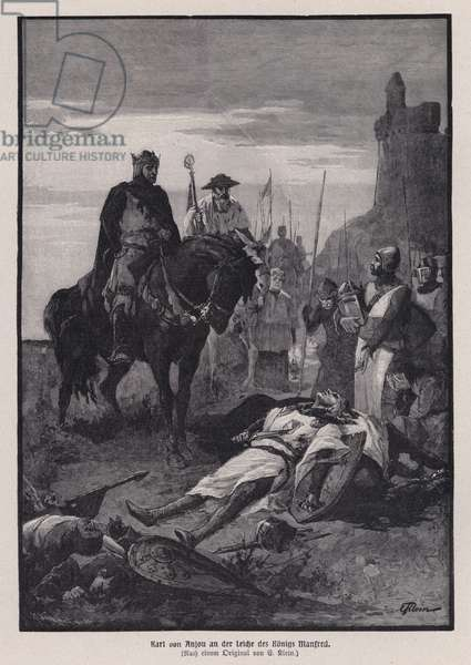 Charles of Anjou looking down at the body of King Manfred of Sicily after defeating him at the Battle of Benevento, Italy, 1266 (engraving)
