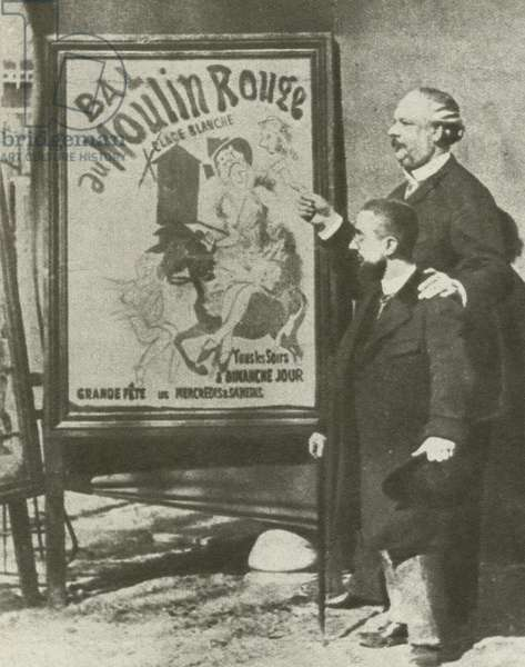 Toulouse-Lautrec with a director of the Moulin Rouge, Paris (b/w photo)