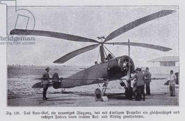 Autogyro, aircraft with both rotors and a propeller, invented by Spanish engineer Juan de la Cierva in 1923 (b/w photo)