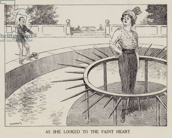 Woman looking at her faint-hearted suitor with disdain (litho)