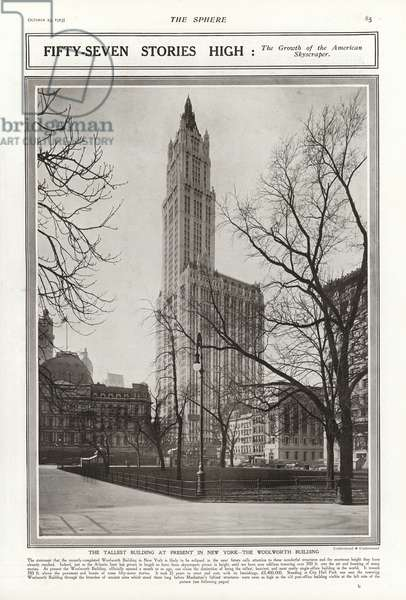 The Woolworth Building, New York, 1913 (b/w photo)