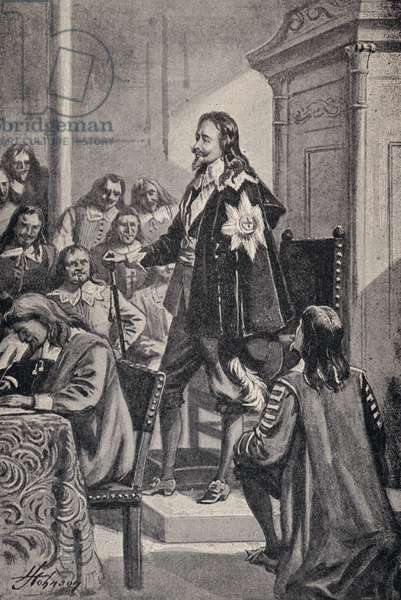 King Charles I, attempting to arrest The Five Members (litho)