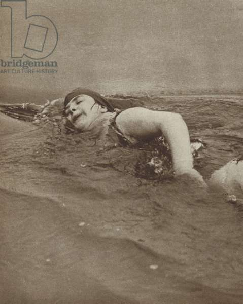 British swimmer Ivy Hawke succeeding at the third attempt to swim the English Channel, 1928 (b/w photo)