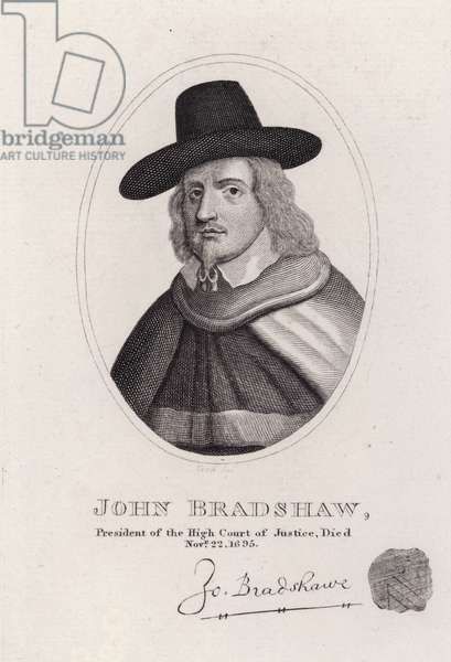 John Bradshaw, English judge who was President of the High Court of Justice for the trial of King Charles I in 1649 (engraving)