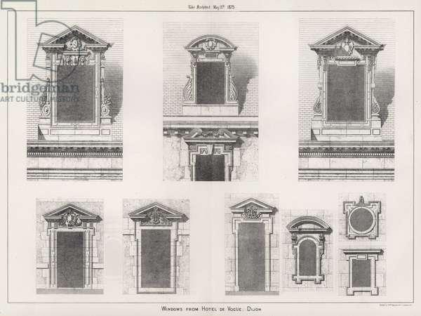 Windows from Hotel De Vogue, Dijon (engraving)