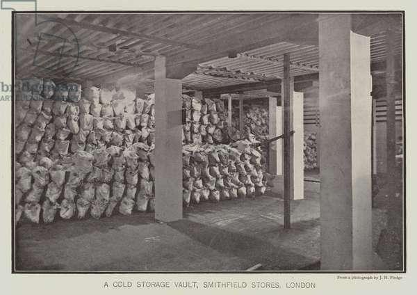 A cold storage vault, Smithfield Stores, London (b/w photo)