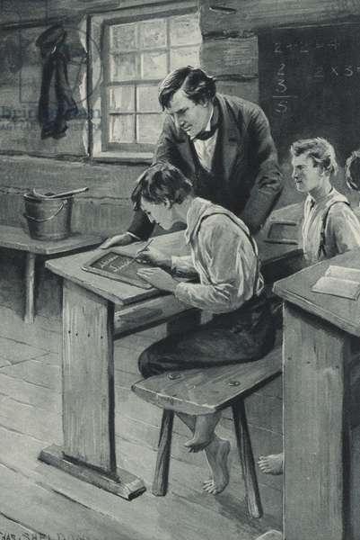 Abraham Lincoln learns to write (litho)