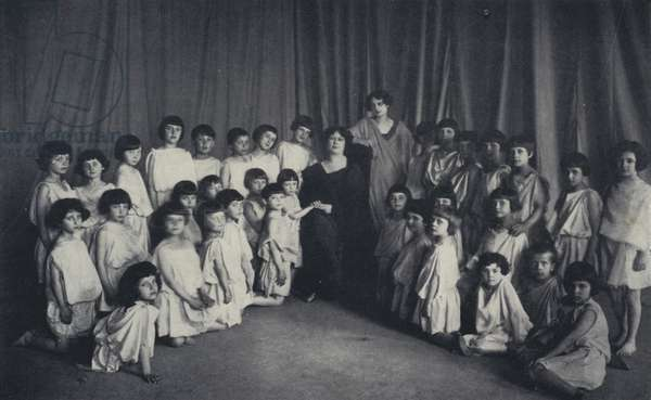 The First Photograph taken of the New Pupils of the Isadora Duncan School in Moscow, 1921 (b/w photo)