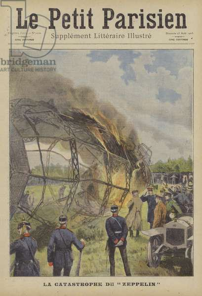 Disastrous accident suffered by Zeppelin LZ4 (colour litho)
