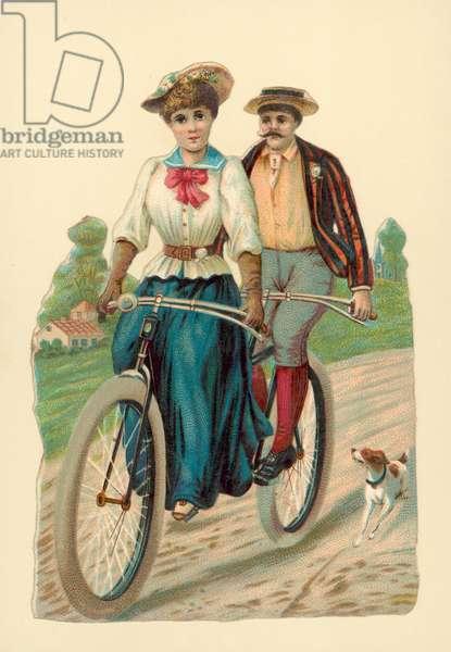 Woman and man riding a tandem (chromolitho)