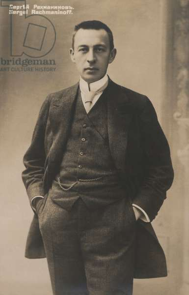 Portrait of Sergei Rachmaninoff, Russian musical composer (b/w photo)