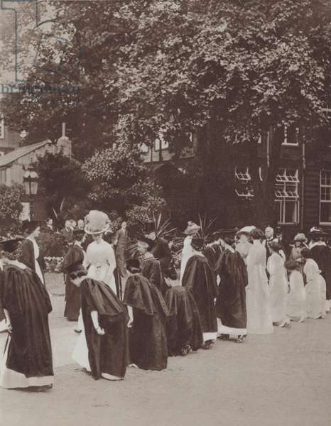 Queen Mary visiting the new wing of Bedford College, University of London, 1913 (b/w photo)