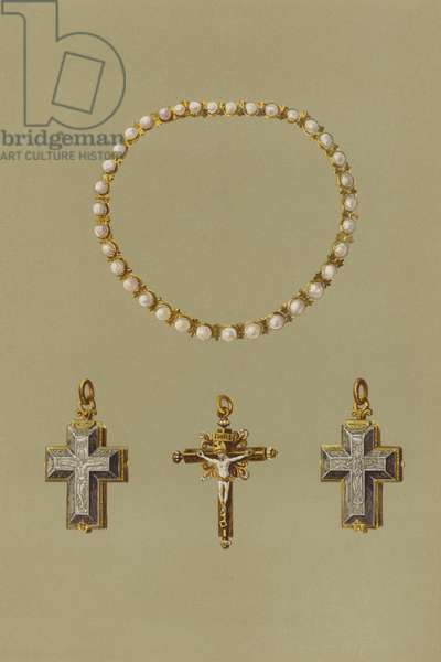 Pearl Necklace, Silver Enameled Reliquary, Gold Enamel Crucifix of Mary Queen of Scots (chromolitho)