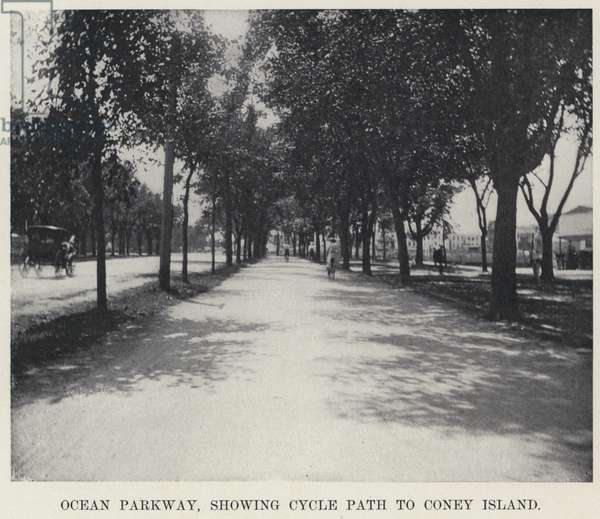 Ocean Parkway, showing Cycle Path to Coney Island (b/w photo)