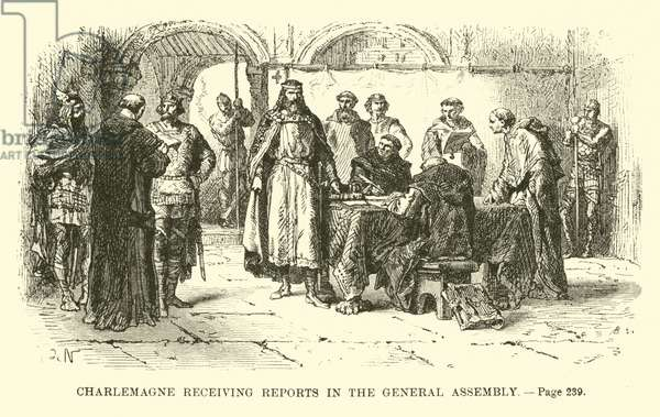 Charlemagne receiving reports in the general assembly (engraving)
