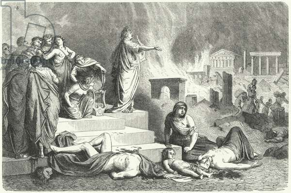 Nero during the Great Fire of Rome, 64 (engraving)