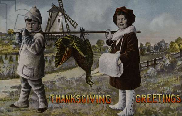 Two children carrying a turkey on a pole, Thanksgiving greetings card (photo)