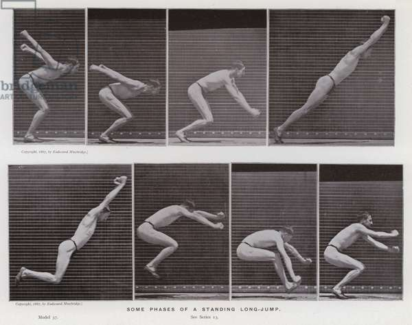 The Human Figure in Motion: Some phases of a standing long-jump (b/w photo)