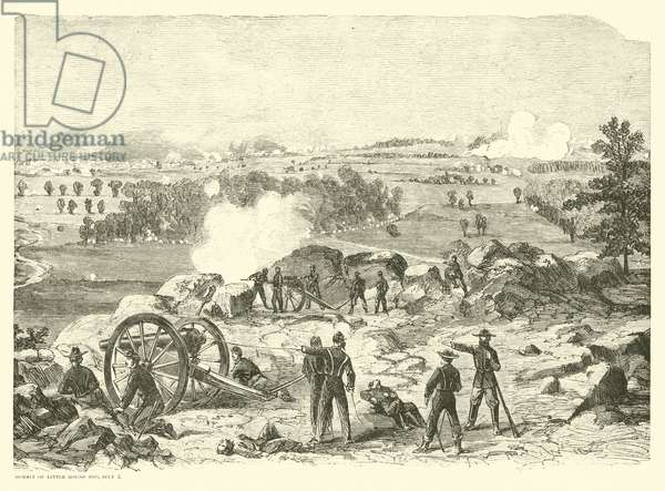 Battle of Gettysburg, Summit of Little Round Top, 2 July, July 1863 (engraving)