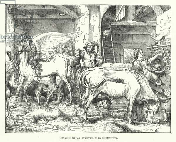 Pegasus being starved into subjection (engraving)