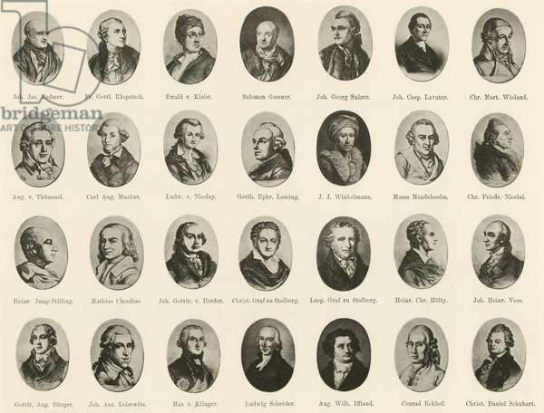 Portraits of famous Germans from Ritter vom Deutschen Geiste (litho)