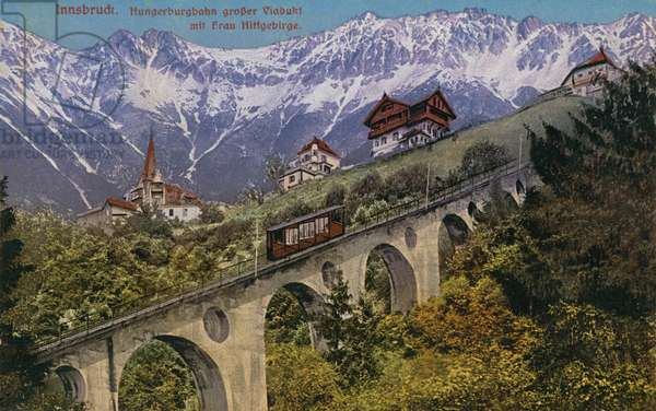 Innsbruck - funicular railway and viaduct. Postcard sent in 1913.