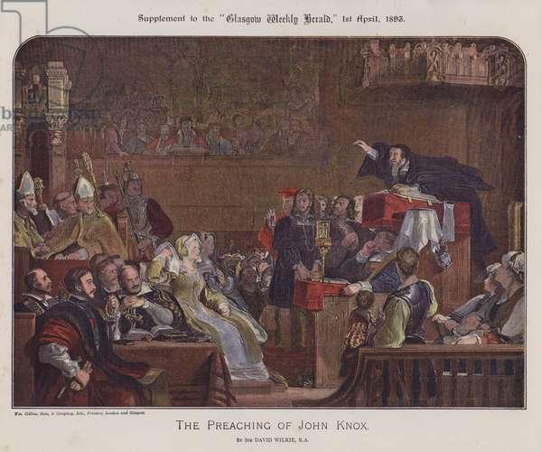 The preaching of John Knox (colour litho)