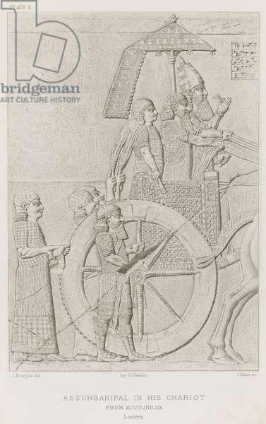 Assurbanipal in his chariot, from Kouyundjik, Louvre (engraving)