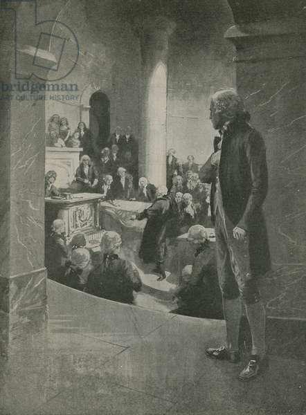 "Thomas Jefferson listening to the ""treason"" speech (litho)"