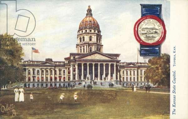 The Kansas State Capitol, Topeka, Kansas (colour litho)