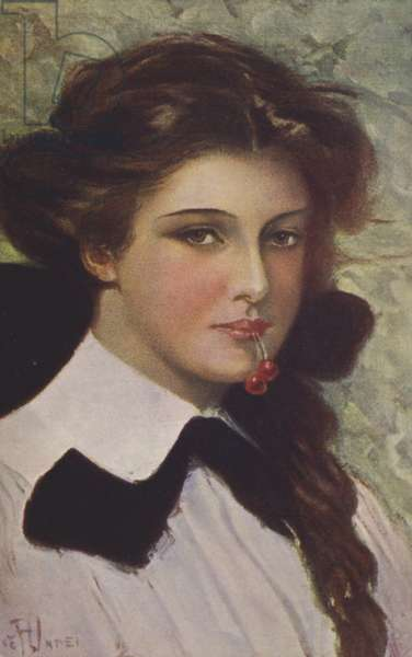 Girl with cherries in her mouth (colour litho)