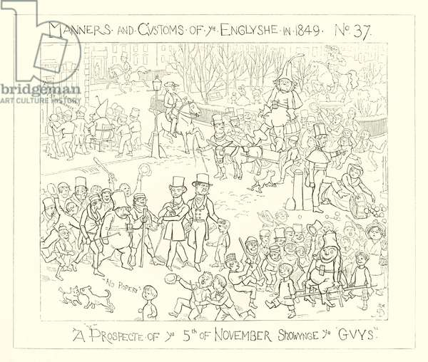 1849, A prospect of the 5th of November showing the Guys (engraving)